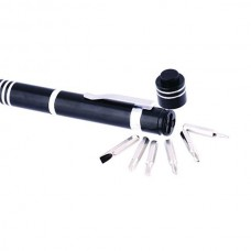Chave de fendas com 6 funções com lanterna LED Preta