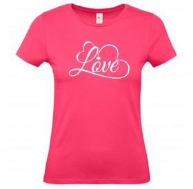 """T-Shirt de Senhora Rosa """"Love"""""""