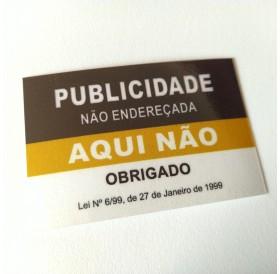 """Autocolante """"Publicidade Não Endereçada Aqui Não"""" Preto/Dourado"""