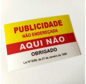 """Autocolante """"Publicidade Não Endereçada Aqui Não"""" Amarelo/Vermelho"""