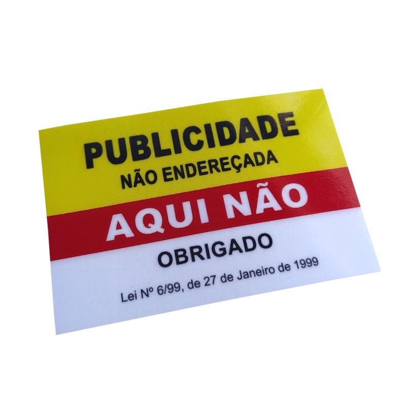 """Autocolante """"Publicidade Não Endereçada Aqui Não"""" Amarelo / Vermelho 85x55mm"""