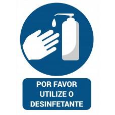 """Autocolante """"Utilize o desinfetante"""""""